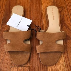 Who What Wear Brown Suede Slide Sandals